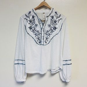 Free People White Embroidered Puff Sleeve Shirt